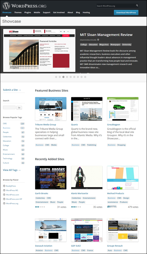 WordPress.org Web Site Showcase