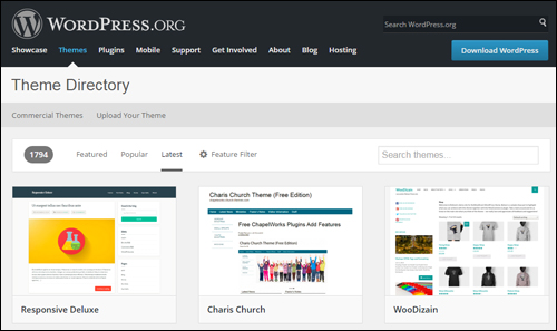 WordPress.org free themes directory